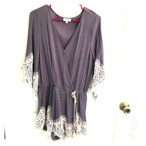 Grey romper with lace detail